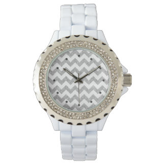 Silver Glitter Zigzag Stripes Chevron Pattern Watches