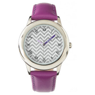 Silver Glitter Zigzag Stripes Chevron Pattern Watches