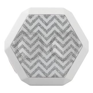 Silver Glitter Zigzag Stripes Chevron Pattern White Bluetooth Speaker