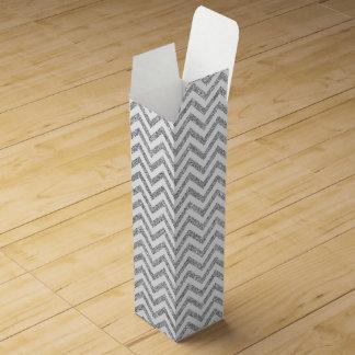 Silver Glitter Zigzag Stripes Chevron Pattern Wine Box