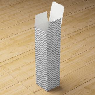 Silver Glitter Zigzag Stripes Chevron Pattern Wine Gift Box