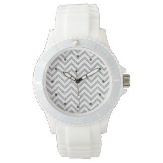 Silver Glitter Zigzag Stripes Chevron Pattern Wrist Watch
