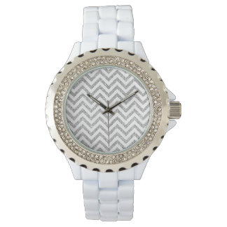 Silver Glitter Zigzag Stripes Chevron Pattern Wristwatch