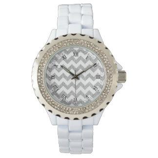 Silver Glitter Zigzag Stripes Chevron Pattern Wristwatches