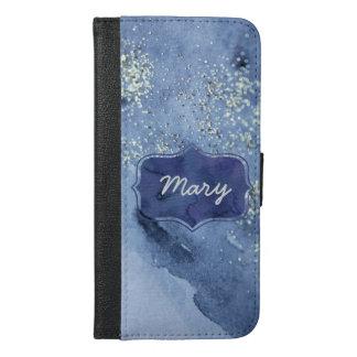 Silver Glittering Navy Watercolor iPhone 6/6s Plus Wallet Case