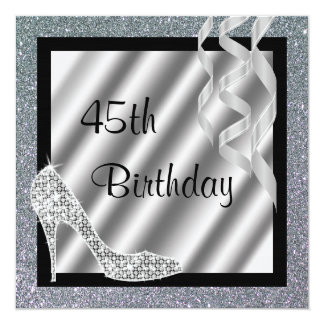 Silver Glittery Stiletto & Streamers 45th Birthday Card