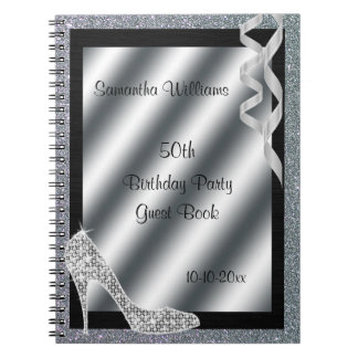 Silver Glittery Stiletto & Streamers 50th Birthday Notebooks