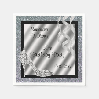 Silver Glittery Stiletto & Streamers 50th Birthday Paper Napkin