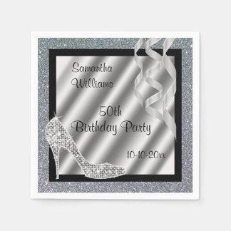 Silver Glittery Stiletto & Streamers 50th Birthday Paper Napkin