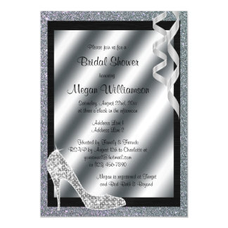 Silver Glittery Stiletto & Streamers Bridal Shower Magnetic Invitations