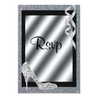 Silver Glittery Stiletto & Streamers RSVP Card