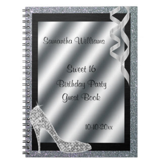 Silver Glittery Stiletto & Streamers Sweet 16 Spiral Notebook