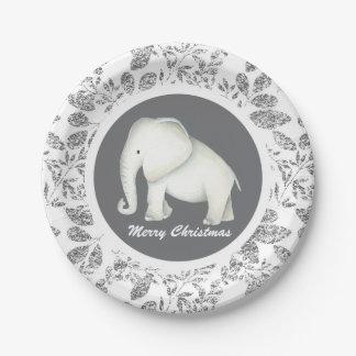 Silver Glitz white elephant Christmas party plate