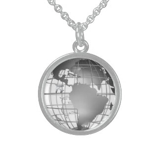 silver globe and plane necklace