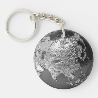 Silver Globe - Asia, 3d Render Double-Sided Round Acrylic Keychain