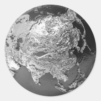 Silver Globe - Asia, 3d Render Round Sticker