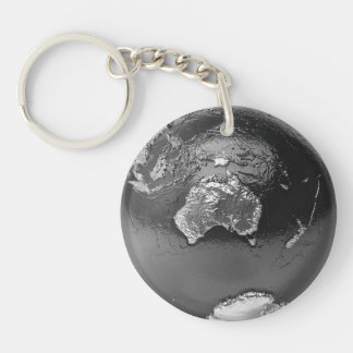 Silver Globe - Australia, 3d Render Double-Sided Round Acrylic Keychain