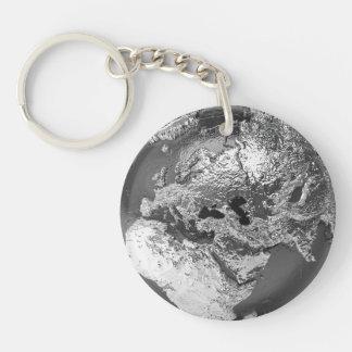 Silver Globe - Europe, 3d Render Keychain