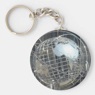 silver globe keychain