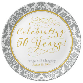 Silver Gold 50th Golden Anniversary Personalized Porcelain Plates