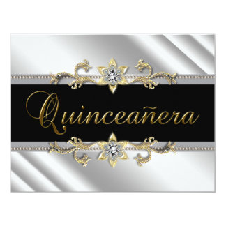"""Silver Gold Black Quinceanera 4.25"""" X 5.5"""" Invitation Card"""