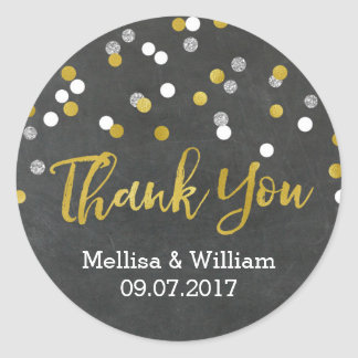 Silver Gold Chalkboard Confetti Wedding Favor Tags