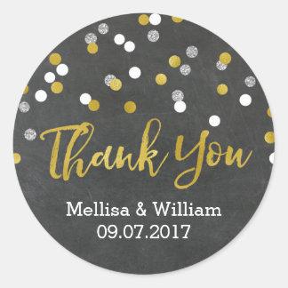 Silver Gold Chalkboard Confetti Wedding Favor Tags Round Sticker