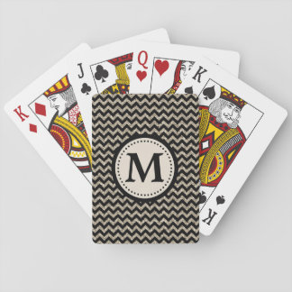 Silver Gold Chevron Faux Glitter Monogram Playing Cards