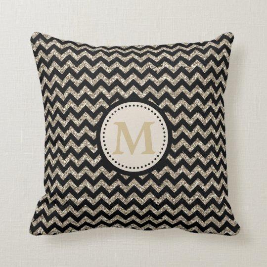 Silver Gold Chevron Glitter Monogram Throw Pillow
