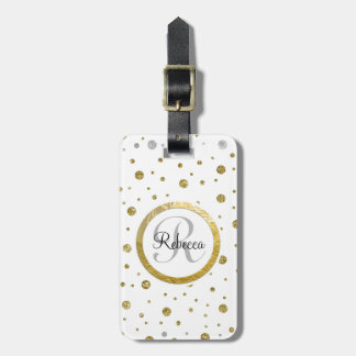 Silver/Gold Confetti Monogram Luggage Tag