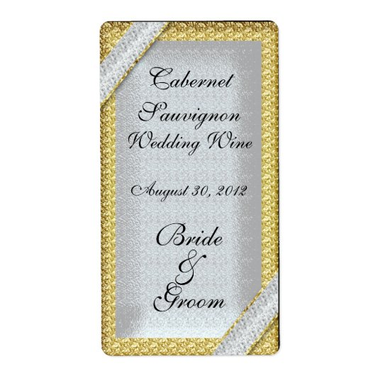 Silver Gold & Diamonds Wedding Wine Label Shipping Label