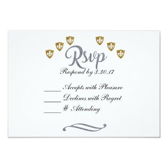 Silver & Gold Fleur de Lis RSVP Card