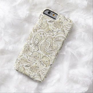 Silver & Gold Floral Paisley Over White Background Barely There iPhone 6 Case