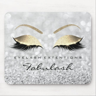 Silver Gold Glitter Branding Beauty Lashes Gray Mouse Pad