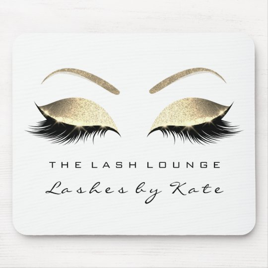 Silver Gold Glitter Branding Beauty Lashes White Mouse Pad