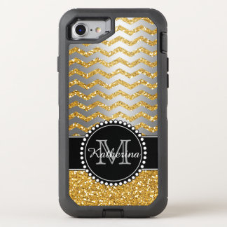 Silver Gold Glitter Chevron Personalized Defender OtterBox Defender iPhone 7 Case