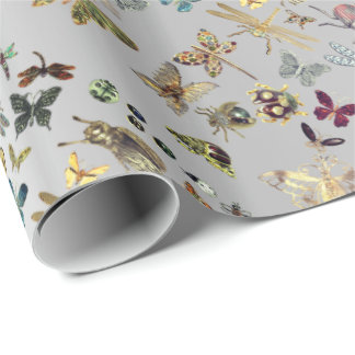 Silver Gold Meadow Butterfly Insects Gems Diamond Wrapping Paper