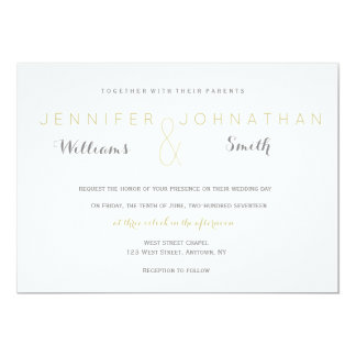 Silver & gold modern wedding invitations