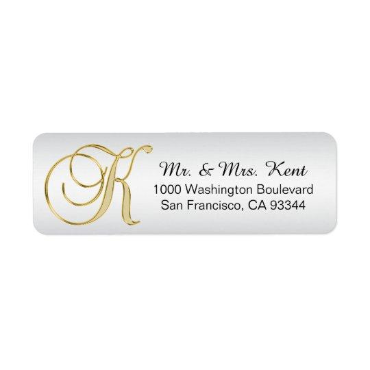 Silver Gold Monogram Letter 'K' Envelope Return Return Address Label