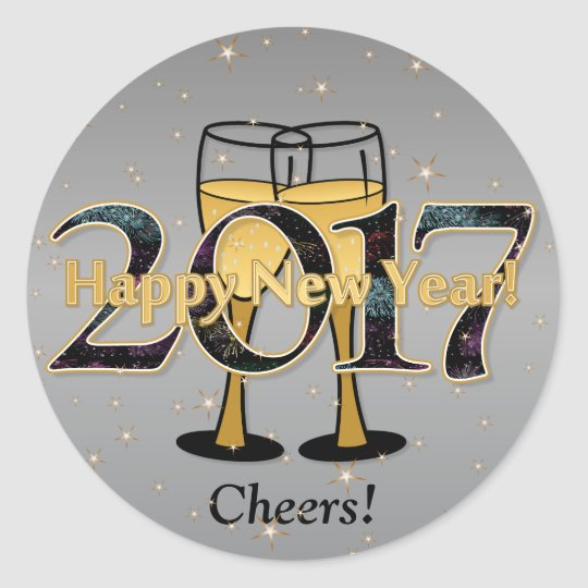 Silver Gold New Year 2017 Champagne Glasses Stars Classic Round Sticker