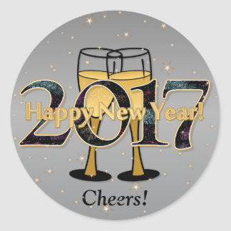 Silver Gold New Year 2017 Champagne Glasses Stars Round Sticker