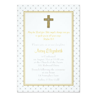 Silver Gold Polka Dot Cross Confirmation Card