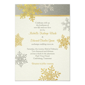 Silver Gold Snowflake Winter Wedding Invitation