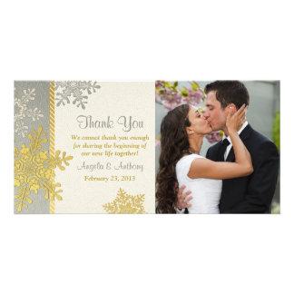 Silver Gold Snowflake Winter Wedding Thank You Card