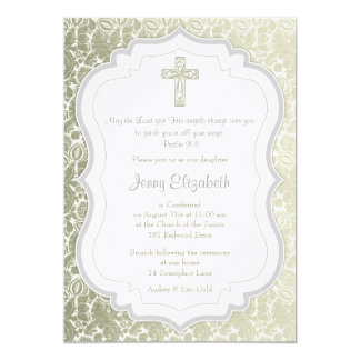 Silver Gold Vintage Damask Cross Confirmation Card