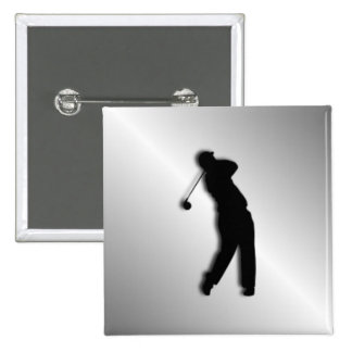 Silver Golf Design 2 Inch Square Button