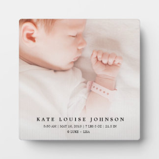 Silver Gradient New Baby Photo & Birth Record Plaque
