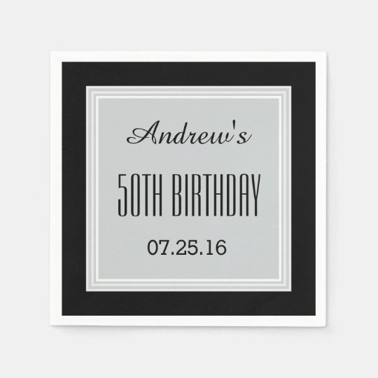 SILVER GRAY and BLACK 50th Birthday Custom A01 Disposable Napkin
