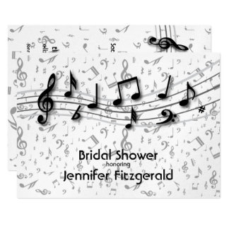 Silver Gray and black music Notes Bridal Shower Card