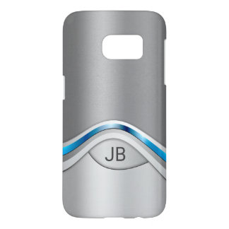 Silver Gray and Blue Metallic Look with Monogram Samsung Galaxy S7 Case